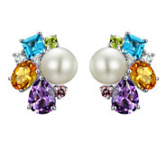 Judith Ripka Sterling Multi-Gem & Cultured Pearl Earrings - J341829