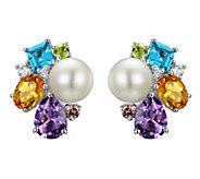 Judith Ripka Sterling Multi-Gem & Cultured Pearl Earrings - J341829