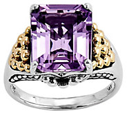 Sterling and 14K Gold 4.00 ct Rectangular Amethyst Ring - J342329