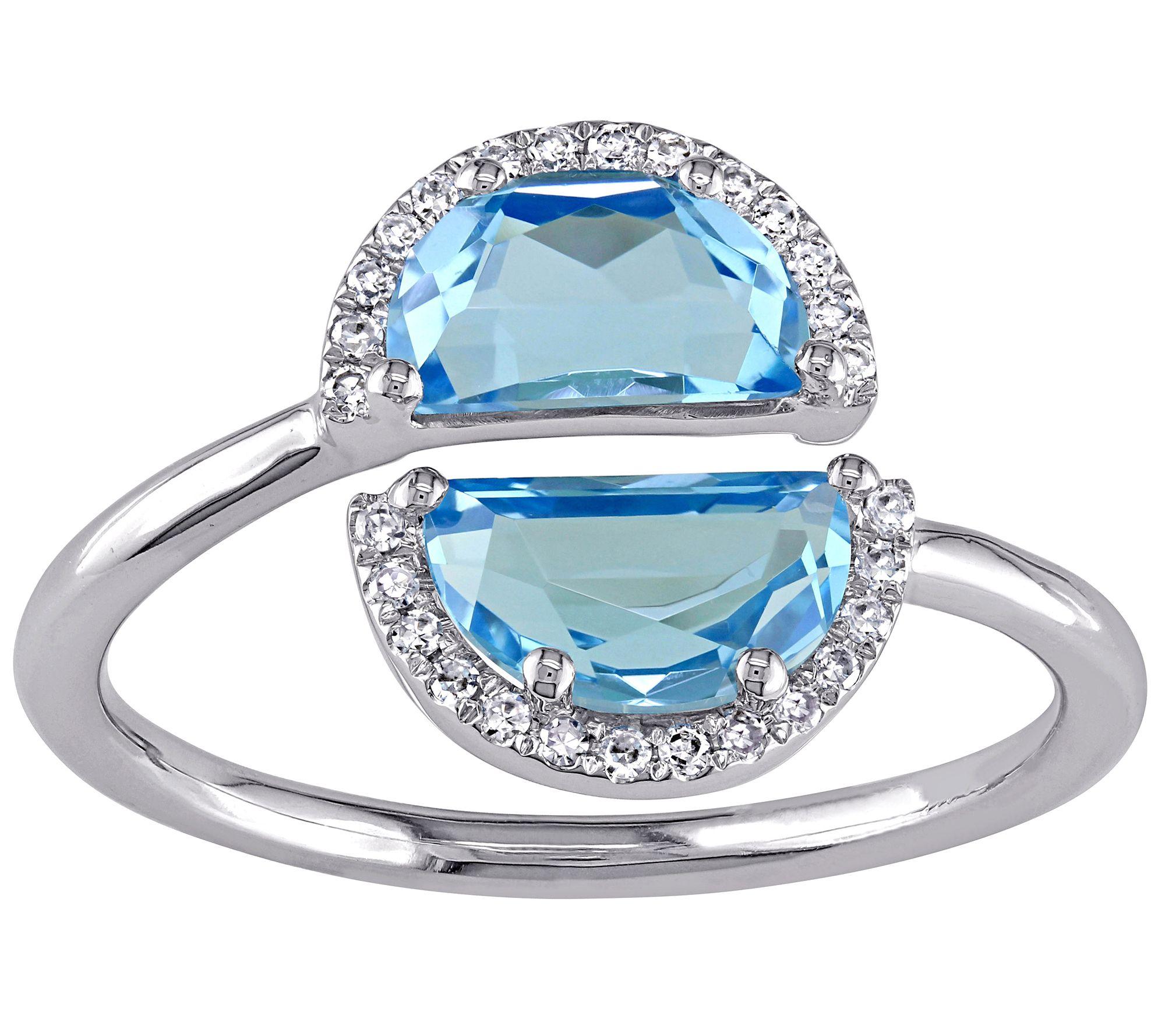 2 35 Cttw Blue Topaz Amp Diamond Accent Ring 1 4k White