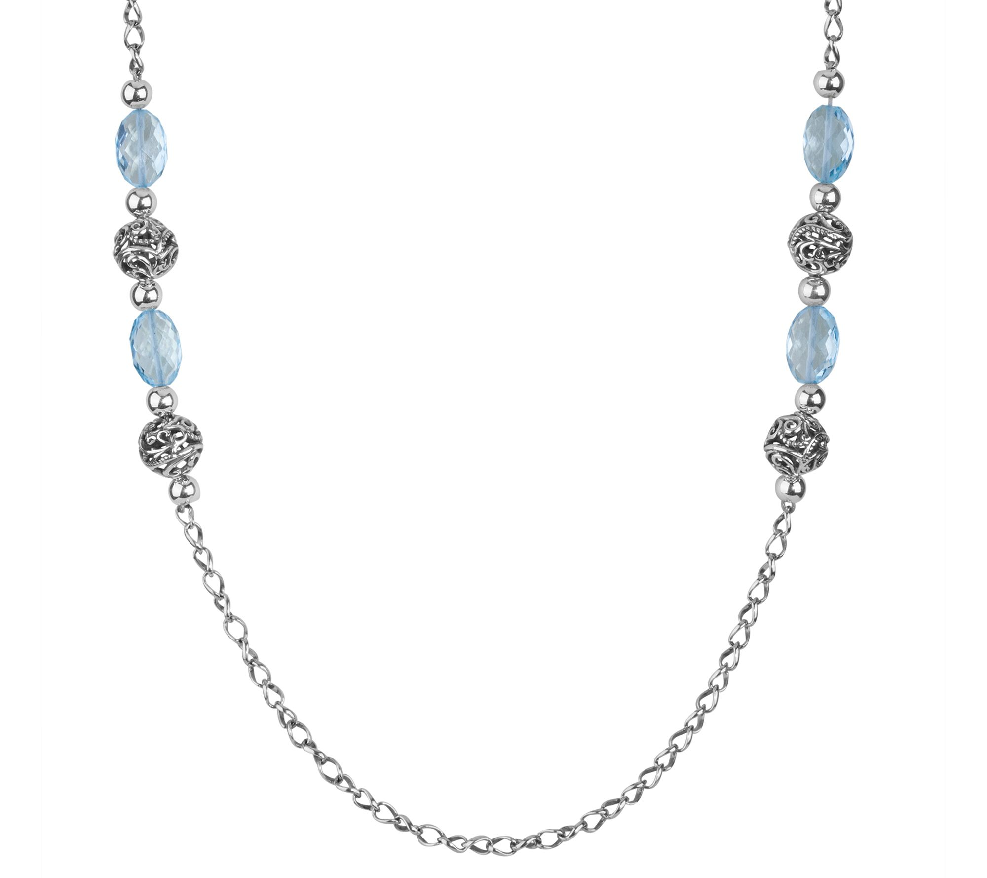 Carolyn pollack signature sterling blue topaz 34 necklace for Carolyn pollack jewelry qvc
