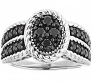 Black Diamond Cluster Ring, Sterling, 1.00 cttw, by Affinity - J344129