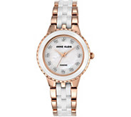 Anne Klein Womens Rosetone White Ceramic Watch - J344729