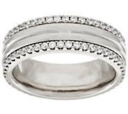 As Is Stainless Steel Crystal Border Polished Ring - J348029