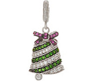 Judith Ripka Sterling Silver Gemstone & Diamonique Bell Charm - J350029