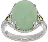 Oval Burmese Jade & Pear Shaped Peridot Sterling Silver Ring - J350629