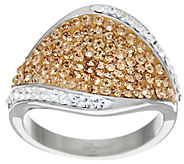 As Is Stainless Steel Pave Style Crystal Ring - J351329