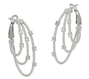 Judith Ripka Verona Sterling Multi-row Hoop Earrings - J351529
