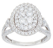 1.50 cttw Oval Cluster Design Diamond Ring, 14K Gold, by Affinity - J352029