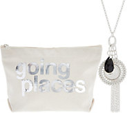 Dogeared Bon Voyage Cluster Necklace and Pouch - J352229
