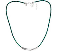 American West Sterling Silver Braided Leather w/Rope Station Necklace - J353329