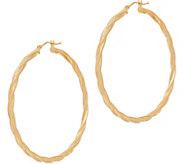 Italian Gold 2 Round Twisted Hoop Earrings 14K Gold - J353729
