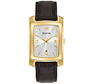 Bulova Mens Classic Goldtone Watch with BrownLeather Strap - J375129