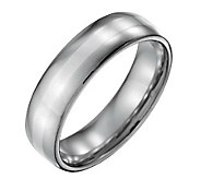 Forza Mens 6mm Steel w/ Sterling Silver InlayPolished Ring - J109530