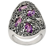 Suspicion Sterling Marcasite and Amethyst Ring - J112430