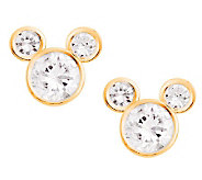 Disney Diamonique Mickey Mouse Stud Earrings, 14K Gold - J112530