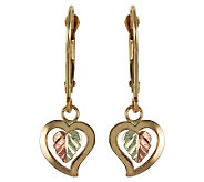 Black Hills Dangling Hearts Lever Back Earrings , 10K/12K Gold - J113730