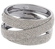 Nadri Micro Pave Criss Cross Design Hinged Bangle Bracelet - J157330