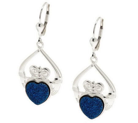 JMH Jewellery Sterling Silver Claddagh Drusy Quartz Earrings