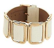 Bronze Average Leather Station Buckle Bracelet by Bronzo Italia - J279830