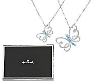 Hallmark Sterling Set of Two Blue Topaz Butterfly Pendants - J286830