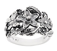 Sterling Silver Flower & Butterfly Textured Ring by Or Paz - J289530