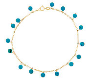 14K Gold 9 Turquoise Bead Dangle Ankle Bracelet - J289630