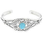 American West Sterling Turquoise Leaf & Flower Cuff - J290430