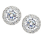 Diamonique Simulated Gemstone Halo Earrings, Platinum Clad - J291130