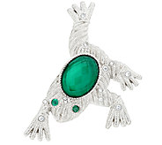 Judith Ripka Sterling Green Goddess Doublet & Diamonique Frog Pin - J291630