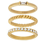 Stainless Steel Goldtone Set of 3 Stack Rings with Crystal Accents - J293230