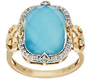 14K Gold Sleeping Beauty Turquoise Doublet and Diamond Ring - J295330