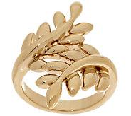 14K Gold Polished Leaf Design Bypass Ring - J295430
