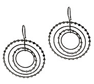 Vicenza Silver Sterling 2-1/4 Cascading Diamond Cut Circle Earrings - J296230