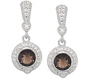 Judith Ripka Sterling & Diamonique 3.20ct Smoky Quartz Earrings - J297030
