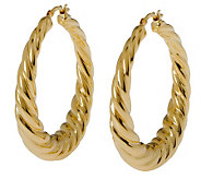 Veronese 18K Clad 1-1/2 Graduated Twist Hoop Earrings - J299030