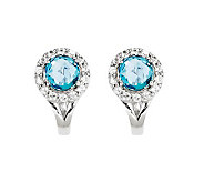 2.35ct tw Blue & White Topaz Sterling Omega Back Earrings - J311930
