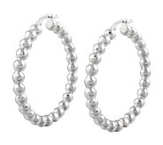 UltraFine Silver 1-1/2 Polished Bead Hoop Earrings - J313530