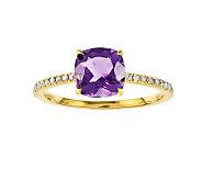 Choice of Cushion-Cut Gemstone & Diamond AccentRing, 14K Gold - J313930