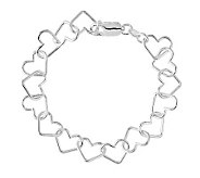 Sterling 7 Polished Open Heart Link Bracelet - J314730