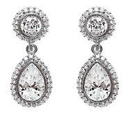 Judith Ripka Sterling Diamonique Pear Halo Earrings - J314830