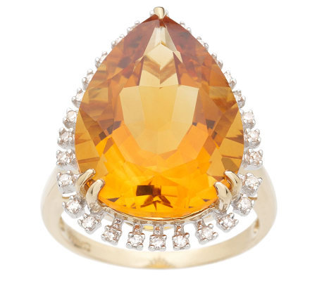 8.70 ct Pear Shaped Citrine and 1/10 ct tw Diamond Ring 14K Gold