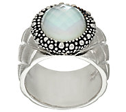 Michael Dawkins Sterling Silver Quilt Texture Mother of Pearl Doublet Ring - J323130