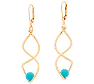Veronese 18K Clad Turquoise Bead Twist Dangle Earrings - J323730