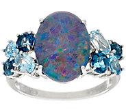 Australian Opal Triplet & Blue Topaz Sterling Silver Ring 1.25 cttw - J324230
