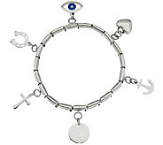 Stainless Steel Initial & Charm Stretch Bracelet - J325030