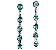 Turquoise Sterling Silver Linear Earrings by American West - J326030