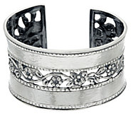 Sterling Silver Hammered & Floral Lace Cuff by Or Paz, 43.0g - J328130