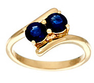2 Stone Precious Gemstone Ring, 14K Gold 0.80 cttw - J329930