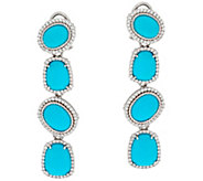 Judith Ripka Sterling Turquoise & Diamonique 1.15 cttw Earrings - J331030